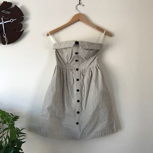 Cooperative Strapless Striped Button Down Dress